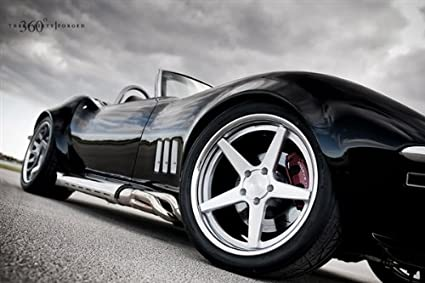 Chevy C3 Corvette Convertible Right Side Close Black on 360 Forged wheels  HD Poster 48 X 32 Inch Print