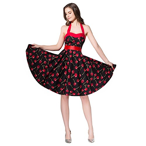 FiftiesChic Colored Halter 100% Cotton 50s Vintage Rockabilly Swing Dress (L (US6-8), Black (Cherry Halter Dress)