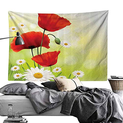Homrkey Smooth and Smooth Tapestry Poppy Decor Collection Poppy and Daisy Flowers with Blurred Background Decorating Natural Image Print Wall Hanging W90 x L59 Red Green White Yellow
