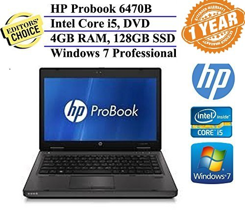 HP ProBook 14 Inch Business High Performance Laptop Computer ( Intel Core i5-3320M 2.6GHz Dual-Core, 4GB RAM, 128GB SSD, Wifi, DVD, Windows 7 Professional) w/ 1 Year Warranty (Certified Refurbished) (Windows 7 Laptop 14)