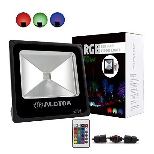 ALOTOA 50W RGB LED Flood Lights, Color Changing LED Secur...