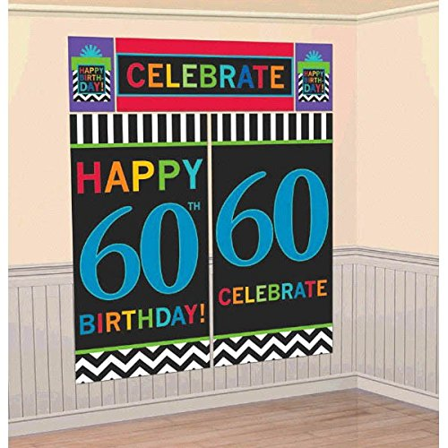 """amscan The Party Continuous 60th Birthday Party Scene Setters Wall Decorating Kit , Pack of 5, Multi , 10"""" X 1.2"""" foil"""