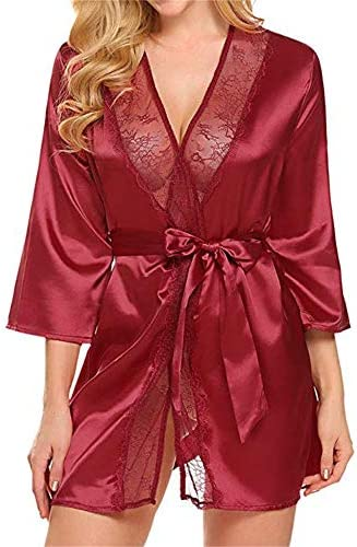 Nihewoo Women`s Satin Kimono Robes Short Silky Bathrobe Satin Bridal Dressing Gown Sleepwear Panty Set Belt 3PC Suit