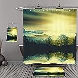 Uhoo Bathroom Suits & Shower Curtains Floor Mats And Bath Towels 469478552 Colorful illustration of picturesque sunset landscape. 3D illustration For Bathroom