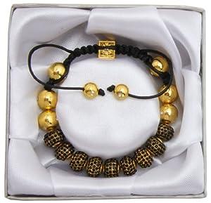 Lova Jewelry Lux Spiritual Sparkle Adjustable Shamballa Black Crystal Pave Bracelet