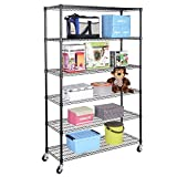 6 Shelf Rack Shelving Storage Wire Home Kitchen Shelves Metal Close 48''x18''x72'' - Adjustable Leveling Feet - Commercial Castor Wheels With Two That Lock For Safety - 6 Tier With Large Weight Capacity
