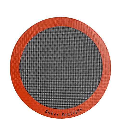 12 Inch Silicone - Perfect Pizza Mat Silicone Baking Cake Liner, Heat Resistant Toaster Pad, Reusable Non-stick Perforated Steaming Mesh for Bread/Cookie/Pastry (12Inch, Orange, Round)