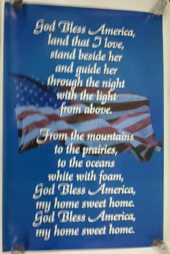Amazoncom God Bless America Patriotic Lyrics American Flag 24x36