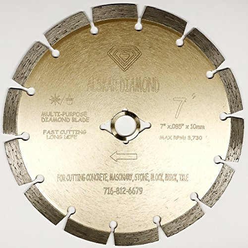 ALSKAR DIAMOND ADLSS 7 inch Dry or Wet Cutting General Purpose Power Saw Segmented Diamond Blades for Concrete Stone Brick Masonry (7