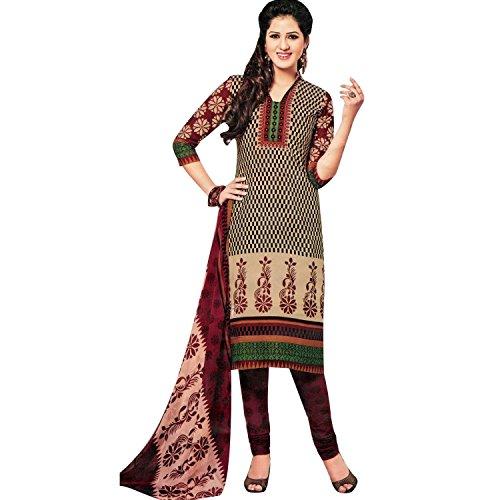 Ready to Wear Beautiful Printed Cotton Salwar Kameez Indian Dress Readymade Salwar Suit Brown