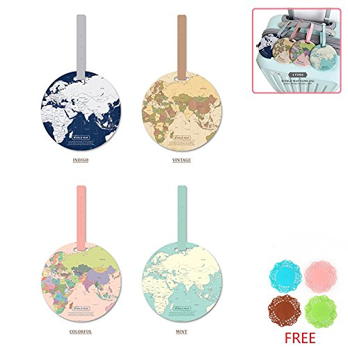 Tough PVC Round Luggage Tags Suitcase Labels Bag Travel Accessories with Free Cup Mat, 4pcs