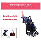 YBL Lightweight Baby stroller Folding suspension High landscape Baby carriage Can sit and lie down Four seasons available Ventilation ventilation Suitable for children 0-3 years old (blue)