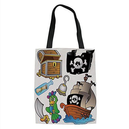 IPrint Pirate,Pirate Themed Collection Treasure Chest Jolly Roger Flag Ship Cutlass Parrot Cartoon,Multicolor Printed Women Shoulder Linen Tote Shopping Bag