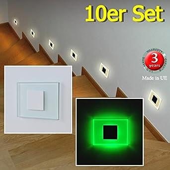 Juego de 10 SUN-LED apliques focos LED para escaleras, escalera, corridor, luz verde marco de