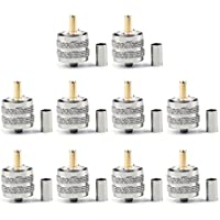 Areyourshop 10Pcs Connector UHF Male Pl259 Plug Crimp RG58 RG142 LMR195 Cable Straight