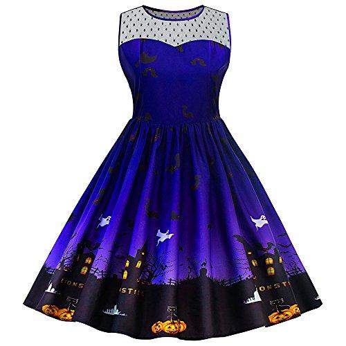 Polka Dot Costume Halloween Dress (SKM Women's Plus Size Dress Vintage Style Sleeveless Polka Dot Sweetheart Neckline Party Swing Dress - Halloween Costumes for women)