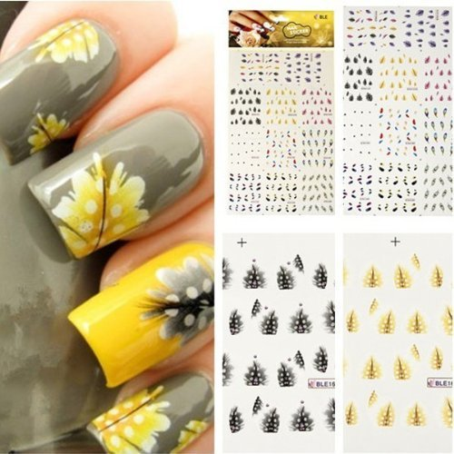 MBox Colorful Peacock Feather Nail Art Tips Nail Decal Stickers