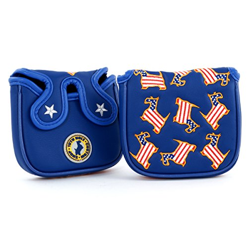 US Flag Dancing Scottie Dog High-MOI Mallet Putter Headcover, Blue (Moi Putter)