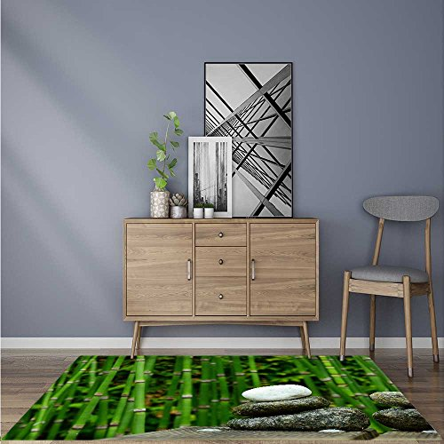 - Non-Slip Area Rug A Cobblestone Beside a Bamboo Forest No Chemical Odor 24
