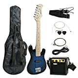 Smartxchoices 30' Inch Kids Electric Guitar With 5W Amp & Much More Guitar Combo Accessory Kit Holiday Gift (Blue)