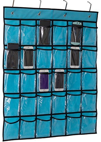 Kimbora Classroom Pocket Chart for Teacher Cell Phones Holder Door Hanging Calculator Organizer, 30 Clear Pockets ()