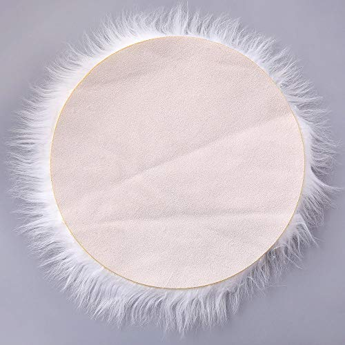 Rambling Soft Round Artificial Sheepskin Rug Chair Cover Artificial Wool Warm Hairy Carpet Seat for Bedroom,Livingroom,Indoor,Diameter:11.7''/15.6''/23.6'' by Rambling (Image #5)