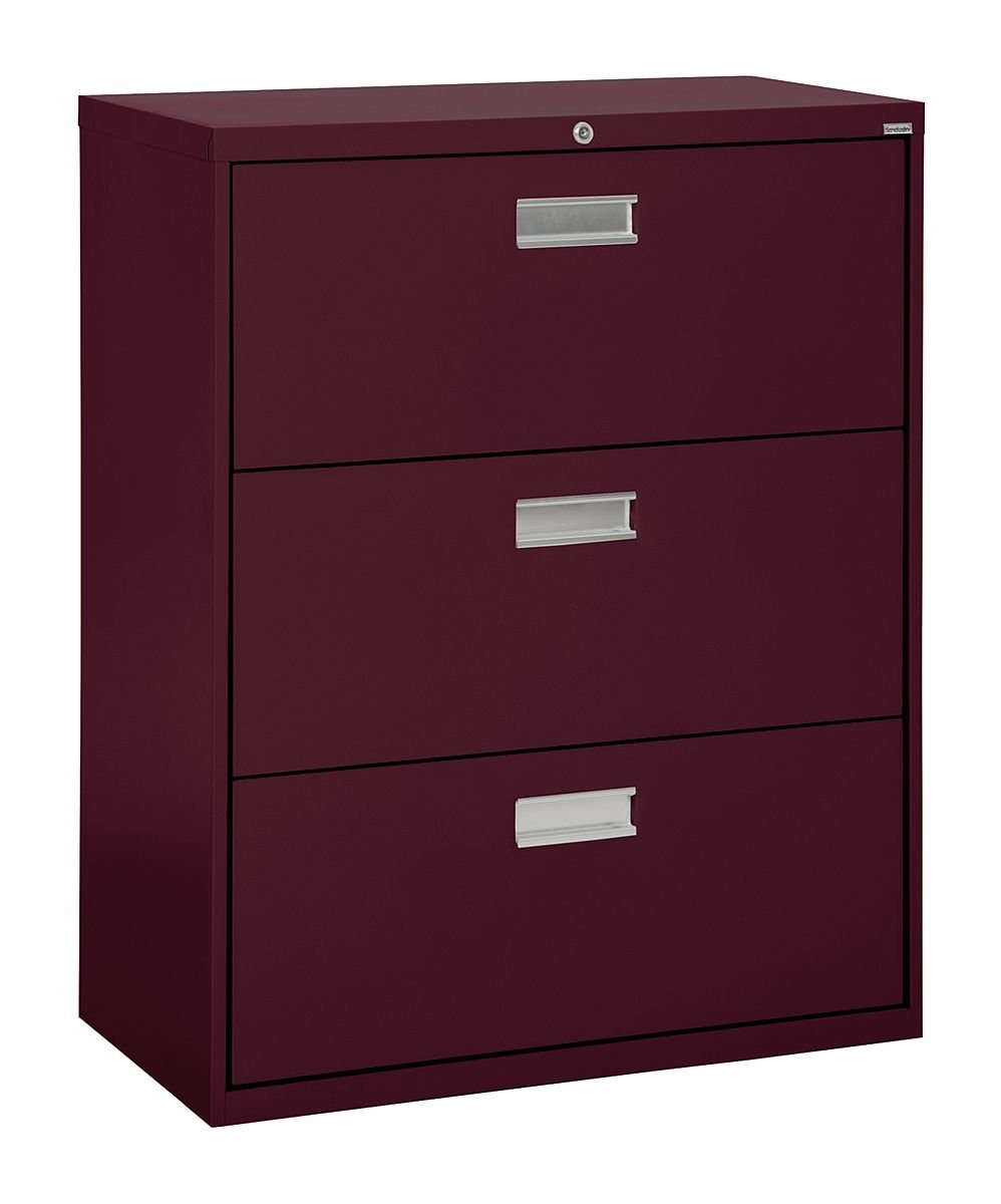 "Sandusky Lee LF6A363-03 600 Series 3 Drawer Lateral File Cabinet, 19.25"" Depth x 40.875"" Height x 36"" Width, Burgundy"