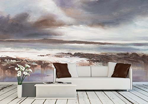 Original Oil Painting Stormy Beach Seascape