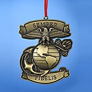 "3.75"" Bronze United States Marine Corps ""Semper Fidelis"" Miltary Christmas Ornament"