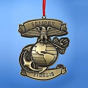 "3.75"" Bronze United States Marine Corps ""Semper Fidelis"" Miltary Christmas Ornament"