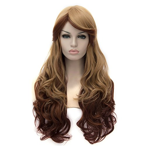 [Probeauty Fashional COS Long Airy Curly Hair Ombre Hair Cosplay Wig Costume Party Wigs (Brown] (Sally Brown Costume)