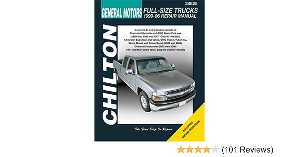 gm full-size trucks, 1999-06 repair manual (chilton's total car care repair  manual): chilton: 9781563926860: amazon com: books