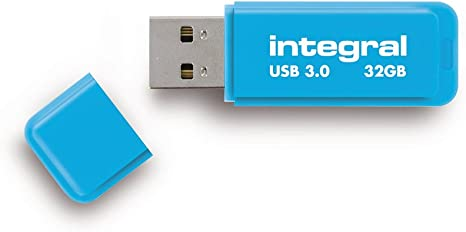 Integral 32GB Neon USB 3.0 Flash Drive in Blue Up To 10X Faster Than USB 2.0