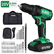 #LightningDeal Cordless Drill Driver Kit - 20V Max Impact Drill Set w/Lithium-Ion Battery & Charger, 330 In-lb Torque, 3/8'' Keyless Chuck, 21+1+1 Clutch, Variable Speed, Built-in LED Drilling Wall Brick Wood Metal