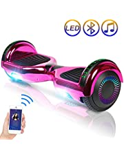 "SISIGAD Hoverboard Self Balancing Scooter 6.5"" Two-Wheel Self Balancing Hoverboard with Bluetooth Speaker and LED Lights for Adult Kids Gift Chrome Color Hoverboard - Plating Dazzle Series"