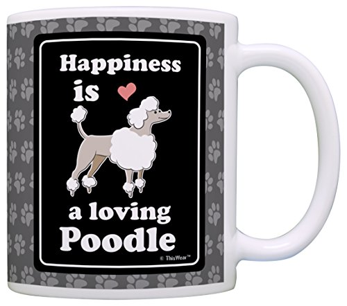 Poodle Gifts Happiness is a Loving Poodle Lover Gift Coffee Mug Tea Cup Paw Prints ()