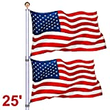 Suny Deals Telescopic Aluminum Flag Pole 3'x5' US Flag Golden Ball Top Kit Halyard Rope in-Ground Pole,Fly 2 Flags (25FT)