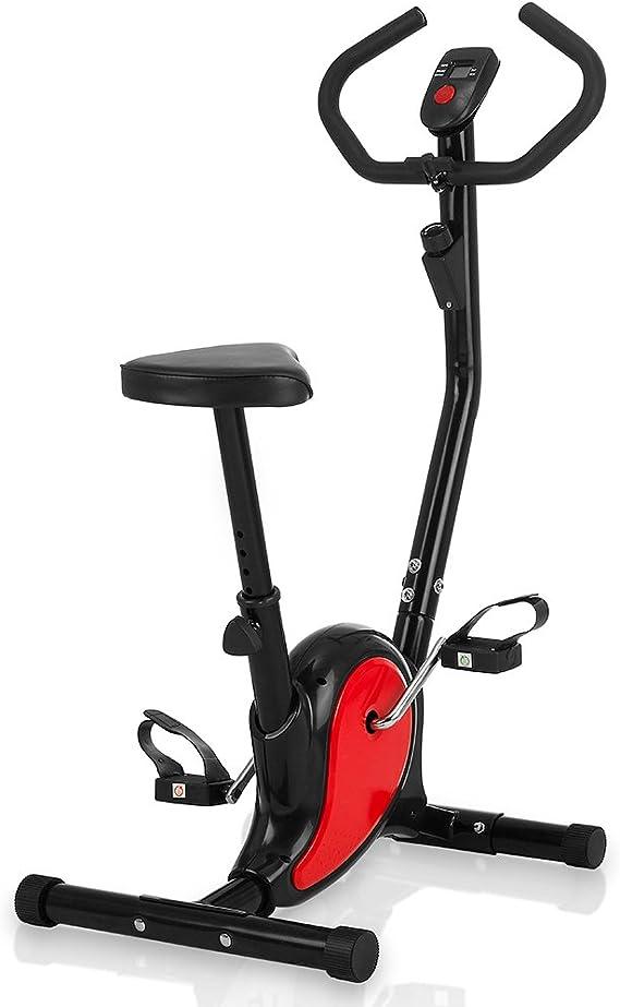 Novohogar Bicicleta Estática para Hacer Spinning en casa. Tamaño Compacto, Resistencia Variable, Pedales Antideslizantes, Función SCAN y Pulsómetro en el Manillar (Roja): Amazon.es: Deportes y aire libre