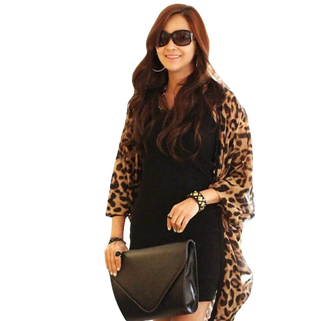 Sixcup Long Kimono Cardigans for Women Shirt Long Batwing Sleeve Leopard Print Wrap Skirt Sarong Kimono Kaftan Blouse Dress Brown)