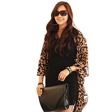 5eec3a5ce7 Sixcup Long Kimono Cardigans for Women Shirt Long Batwing Sleeve Leopard  Print Wrap Skirt Sarong Kimono Kaftan Blouse Dress (Free Size