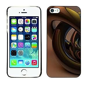 FECELL CITY // Duro Aluminio Pegatina PC Caso decorativo Funda Carcasa de Protección para Apple Iphone 5 / 5S // Gold Bling 3D Art Abstract