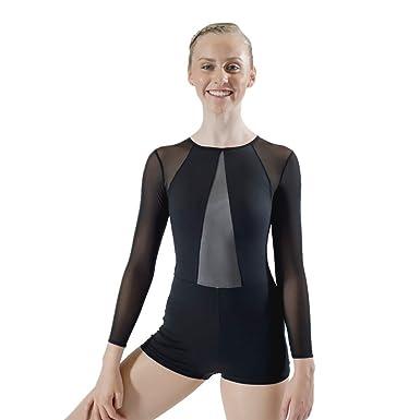 00c9e5699244cd HDW DANCE Women s Black Dance Biketard Long Sleeve Mesh V Front Jazz  Gymnastics Bodysuit (Black