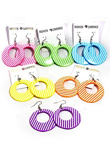 Striped Circle Plastic Earrings (Pink)