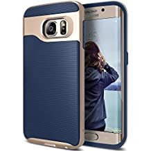 Galaxy S6 Edge Case, Caseology [Wavelength Series] Slim Dual Layer Protection Textured Grip Protective Cover [Navy Blue] for Samsung Galaxy S6 Edge