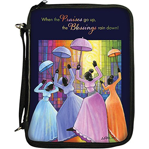 African Bible Covers (African American Expressions - Praises Go Up/Ladies with Umbrellas Book/Bible Organizer (7.5
