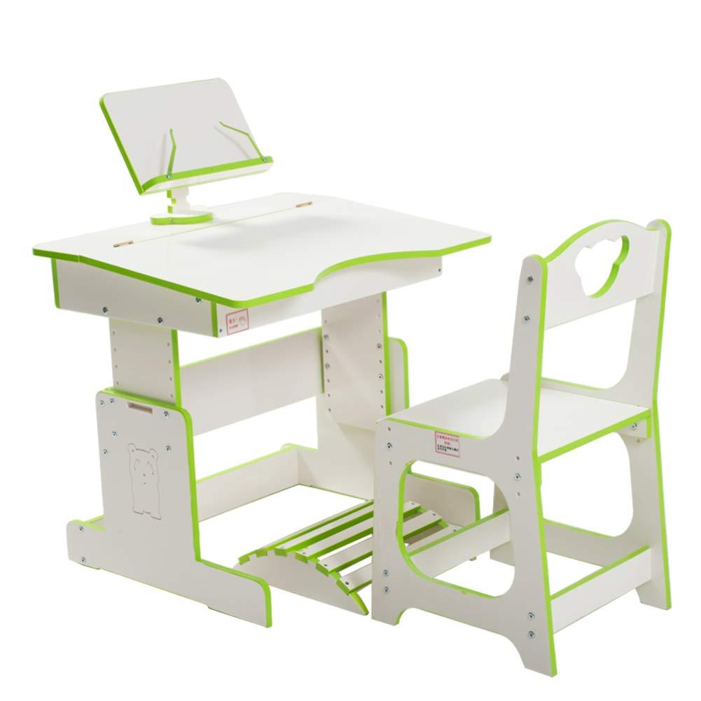 Rart Children Study Desk,Height Adjustable Children's Writing Desk and Chair Learning Desk Kids Desk Chair -Book Holder Provides Correct Angle for Reading -White 70x56cm(28x22inch)