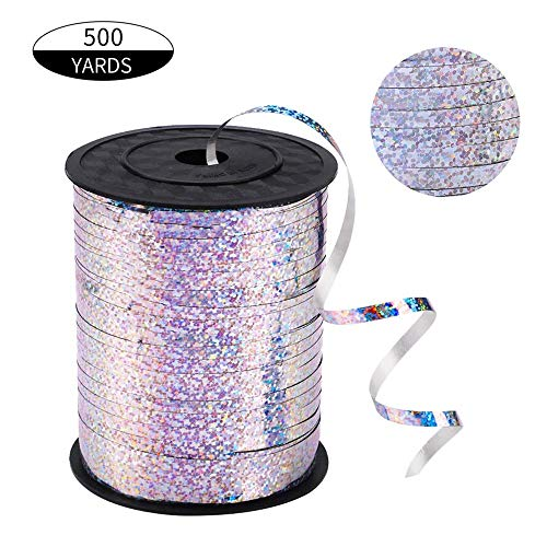 500 Yards Silver Shiny Curling Ribbon Metallic Balloon Roll for Party Festival Art Craft Decor,Florists, Weddings, Crafts and Gift wrap. (Silver)