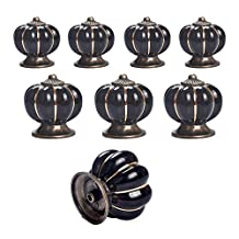 Yazer Vintage New Fashion Pumpkin Decorative Knobs and Pulls Handles for Kitchen Cabinet,Drawer,Dressers,Cupboard,Wardrobe[Pack of 8] (Black)