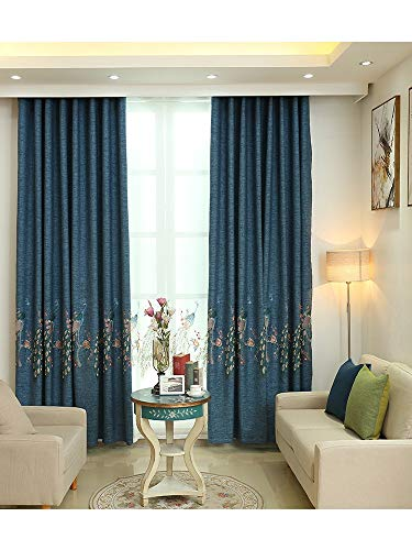 TIYANA 2 Panels Blue Window Dressings 84 inches Long for Living Room Chinese Design Elegant Peacock Embroidery Curtain Drapes (Set of 2) 52 inches Wide, 52