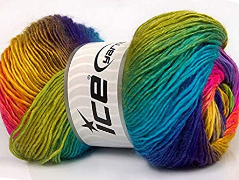 Rock /& Roll 65853 Red White Blue Turquoise Ice Striping Modal Wool Bl Yarn 50gr